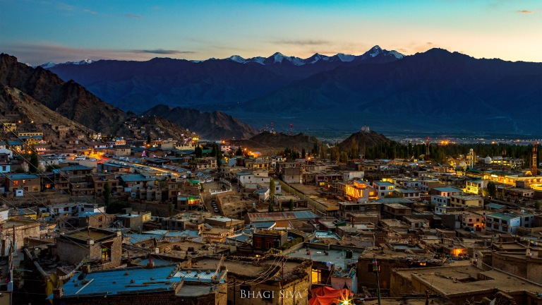 Leh town during nightfall