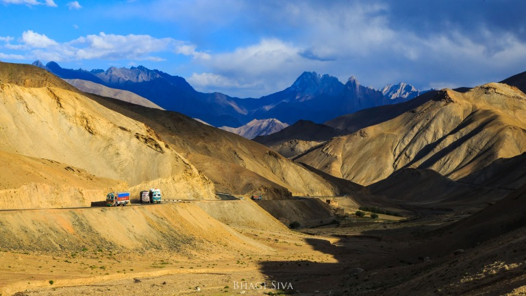 Long roads winding around the Himalayan ranges in Ladakh.